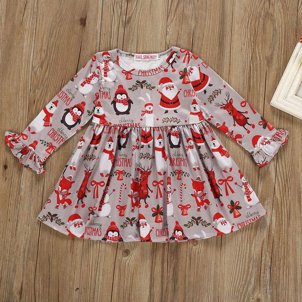 Manches Longues Robe imprim/ée Pingouin Santa Elk Robe de soir/ée de no/ël JJsmile Robe de Tenue de b/éb/é pour Fille