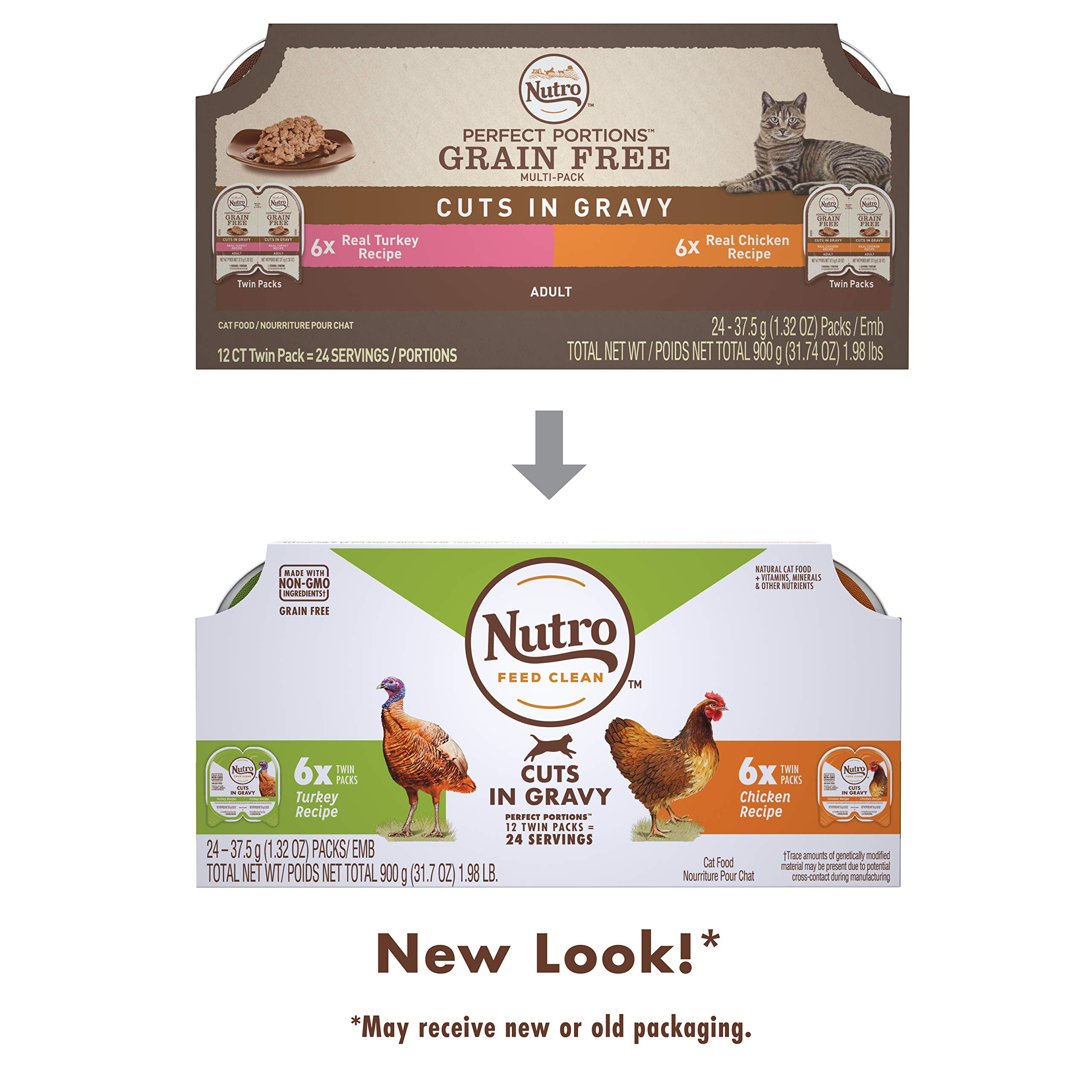 NUTRO PERFECT PORTIONS Grain Free Natural Adult Wet Cat Food Cuts in Gravy Real Turkey and Real Chicken Recipes Variety Pack, (12) 2.6 oz. Twin-Pack Trays by Nutro