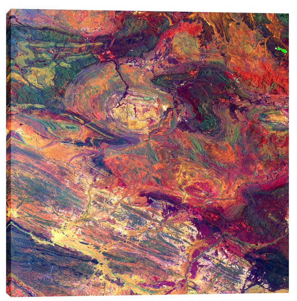 Epic Graffiti Earth As Art: Australian Iron Giclee Canvas Wall, 37'' x 37''