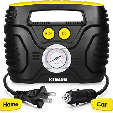 Kensun AC/DC Swift Performance Portable Air Compressor Tire Inflator with Analog Display for Home (110V) and Car (12V)