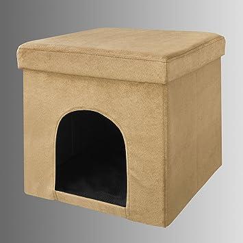 SoBuy® Puff, Taburete, casa para Gatos, casa para Perros, choza para Perros,FSS24-KA(marrón): Amazon.es: Hogar