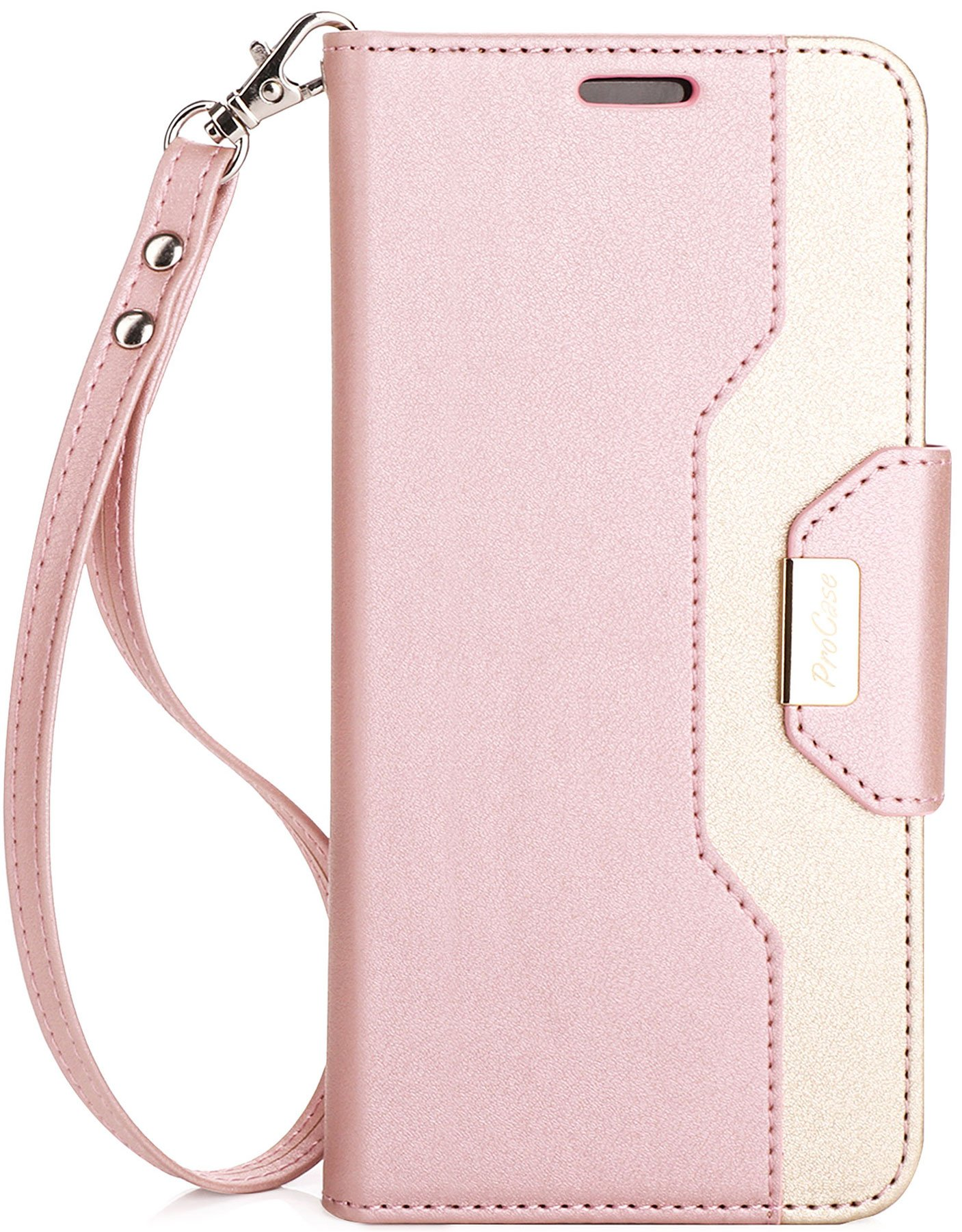 ProCase Galaxy S8 Plus Wallet Case, Flip Kickstand Case with Card Slots Mirror Wristlet, Folding Stand Protective Cover for Samsung Galaxy S8+ 2017 -Pink