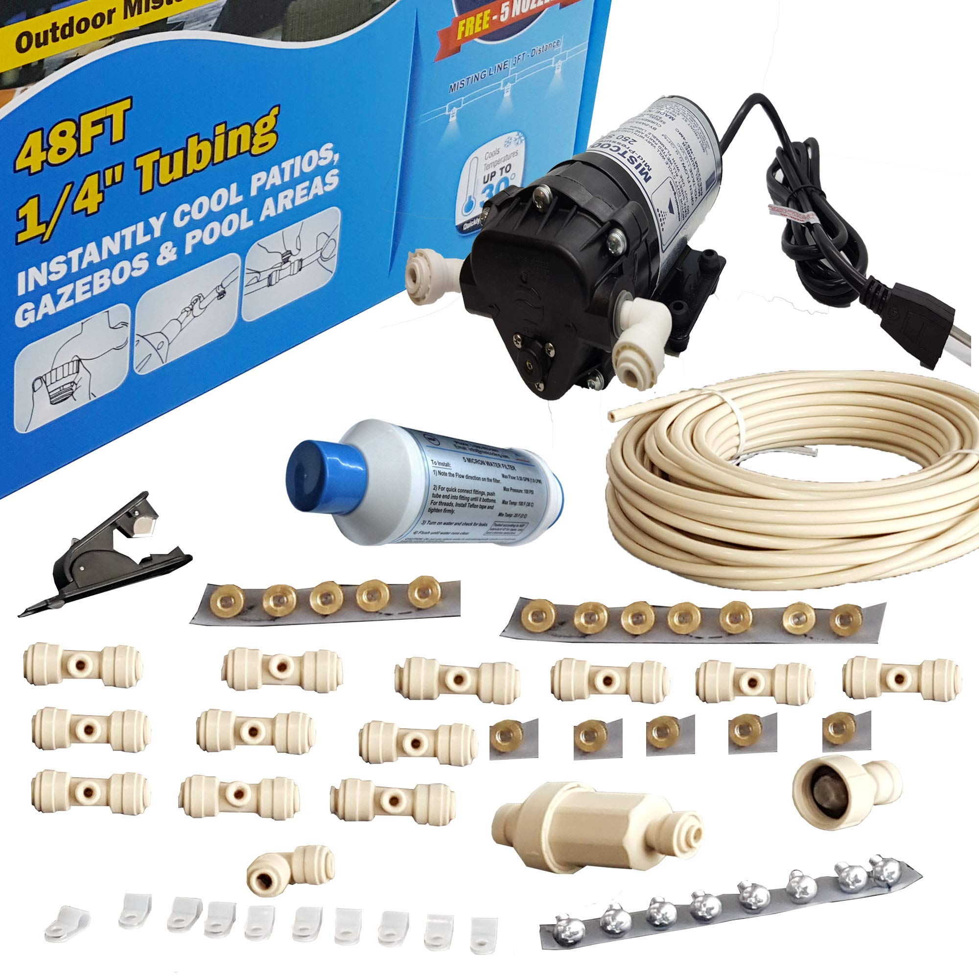Hydrobreeze Misting System - 160 PSI Misting Pump - with Scale Inhibitor Filter - Push to Connect Fittings (48 Ft 12 Nozzles Kit) by Hydrobreeze