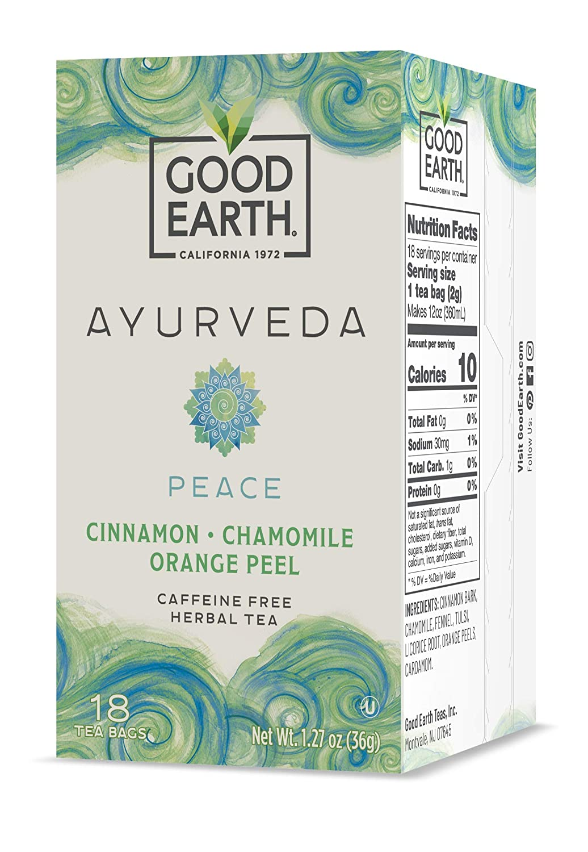 Good Earth Ayurveda Peace Tea, 18 Tea Bags (Pack Of 6)