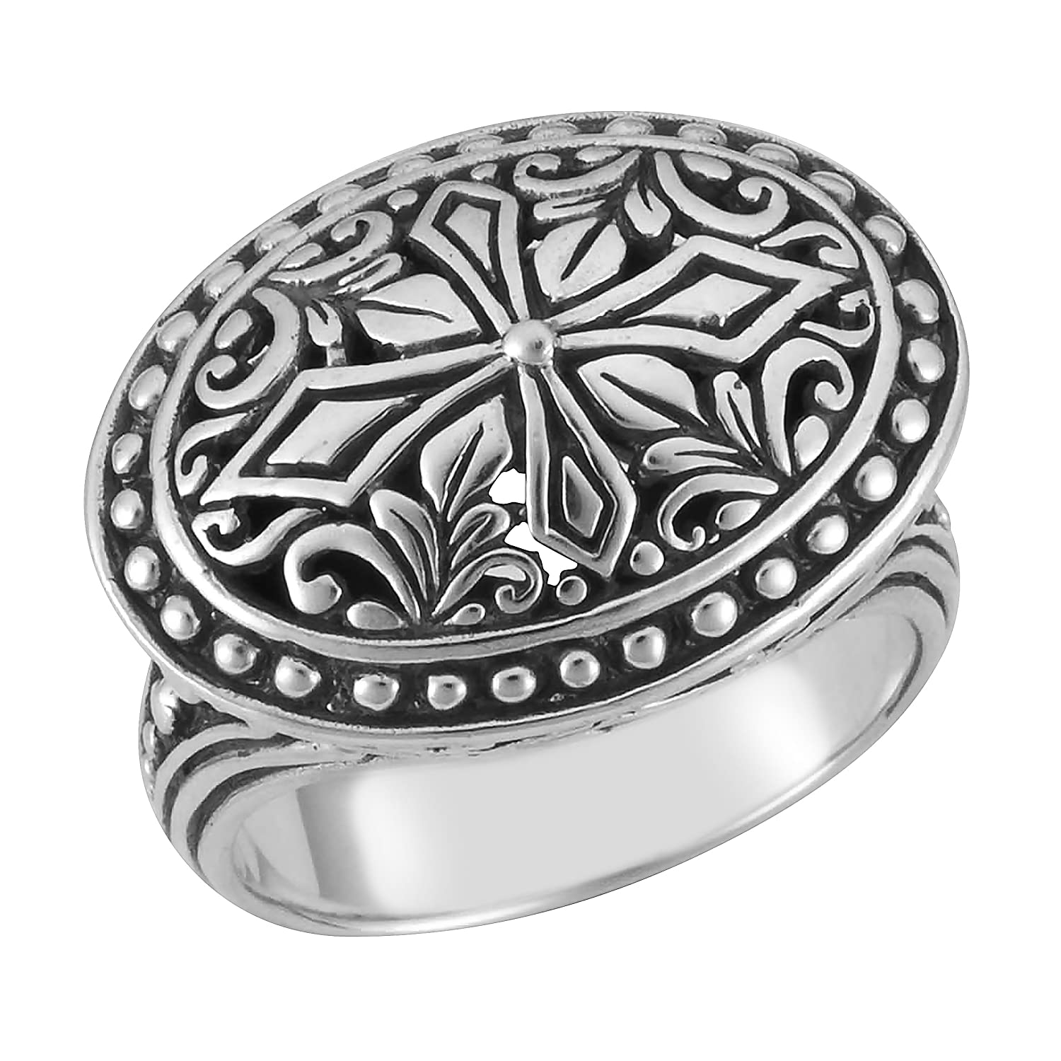 Artisanica Sterling Silver Handcrafted Bali Floral Motif Design Ring
