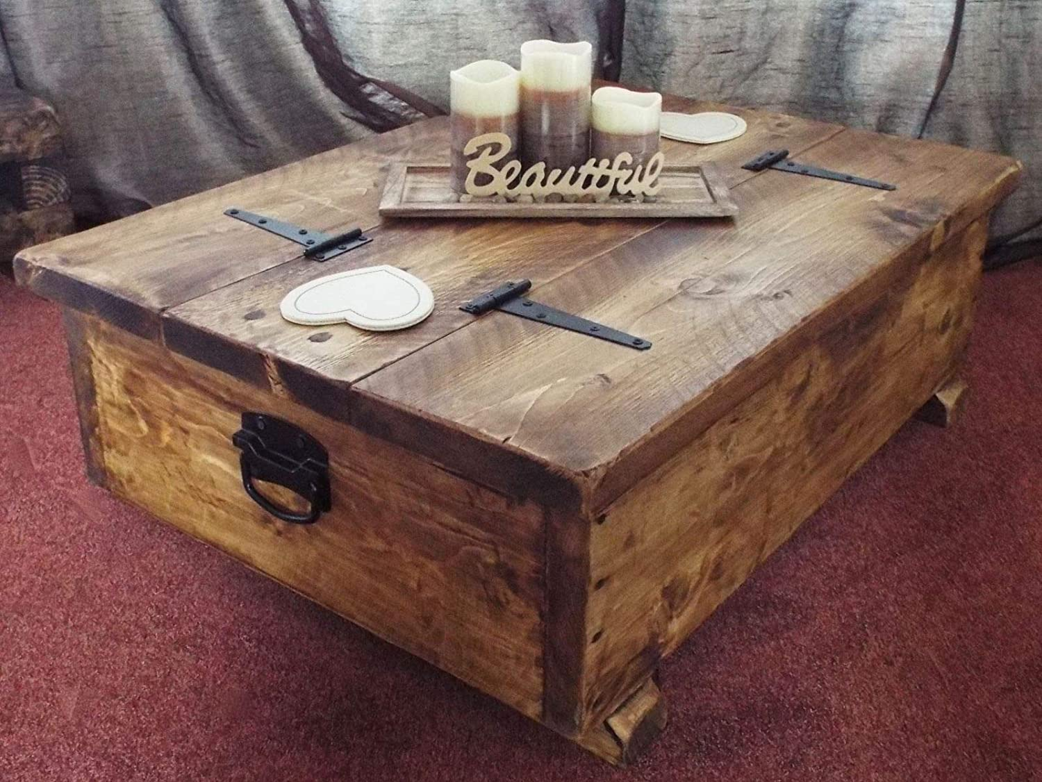 Coffee Table Storage Box Wooden Plank Rustic Blanket Chest Toy
