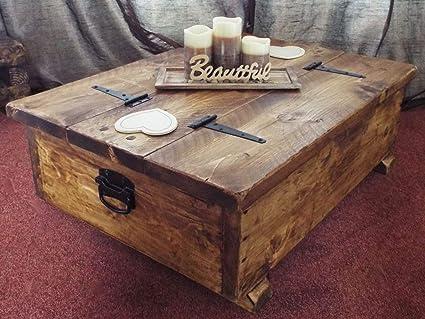 Caja de almacenamiento para mesa de café de madera con diseño rústico