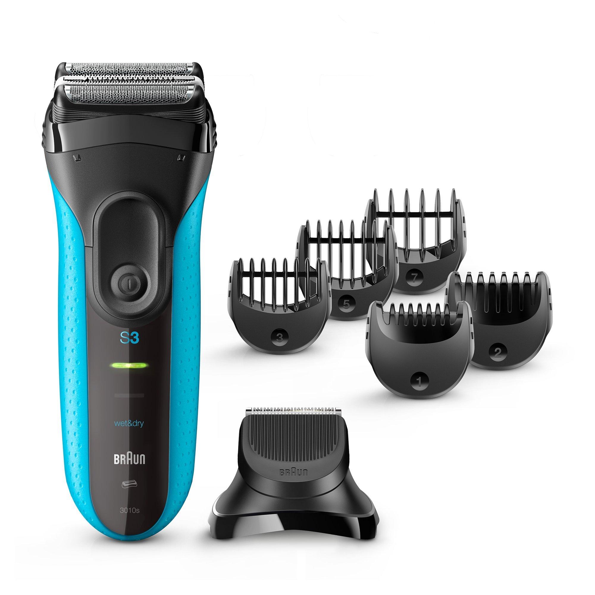 Braun Series 3 3010BT Men's Beard Trimmer/Hair Clipper, Razor, Foil Shaver, Blue & Black by Braun