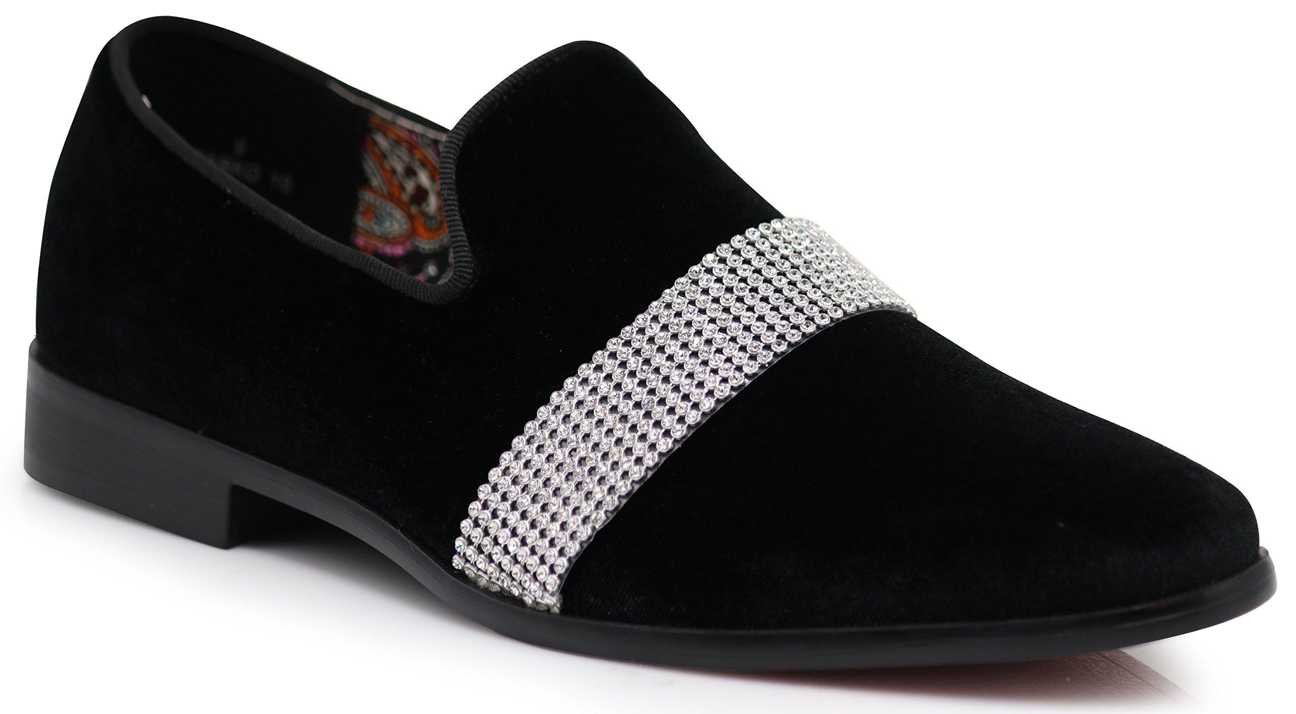 Enzo Romeo SPK10 Men's Vintage Plain Velvet White Stripe Design Dress Loafers Slip On Shoes Classic Tuxedo Dress Shoes (9.5 D(M) US, Black)