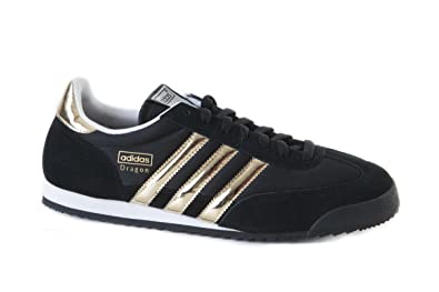 eff8e42eea26fa Image Unavailable. Image not available for. Colour  Adidas Dragon G43679  Black White Gold Trainers ...