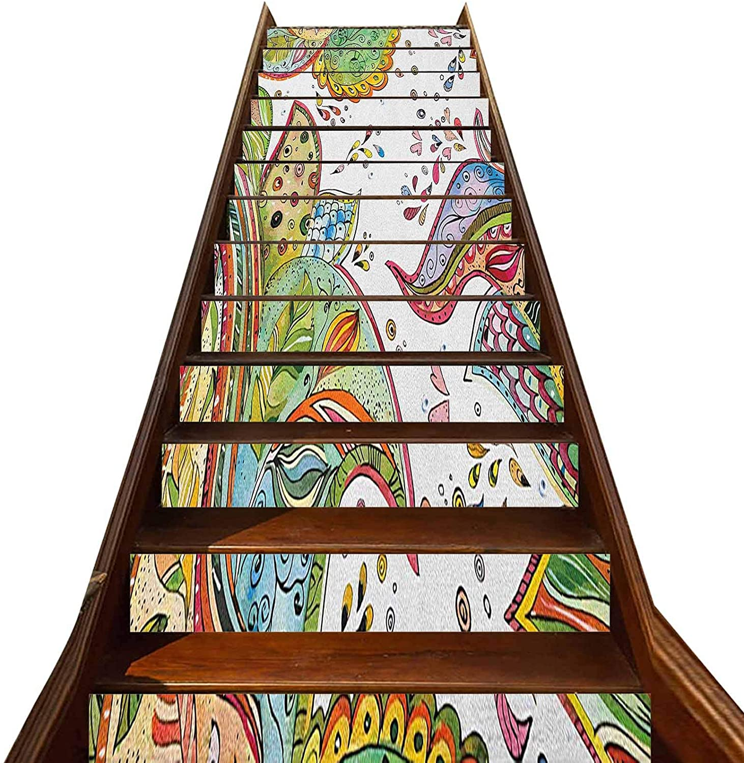 3D Grunge Stair Stickers Decals-13Pcs/Set,Patterns of Leaves Flowers and Heart Shapes in Abstract Garden Theme Art Print Staircase Stickers Stairway Decal Wallpaper,for Stair Sticker Home Decor