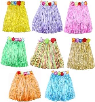 JZK 8 Piezas Falda Luau Hawaiana Disfraces Falda Hula para niñas ...