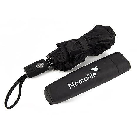 Paraguas automático antiviento de Nomalite | Paraguas plegable para hombre y mujer en Teflón negro,