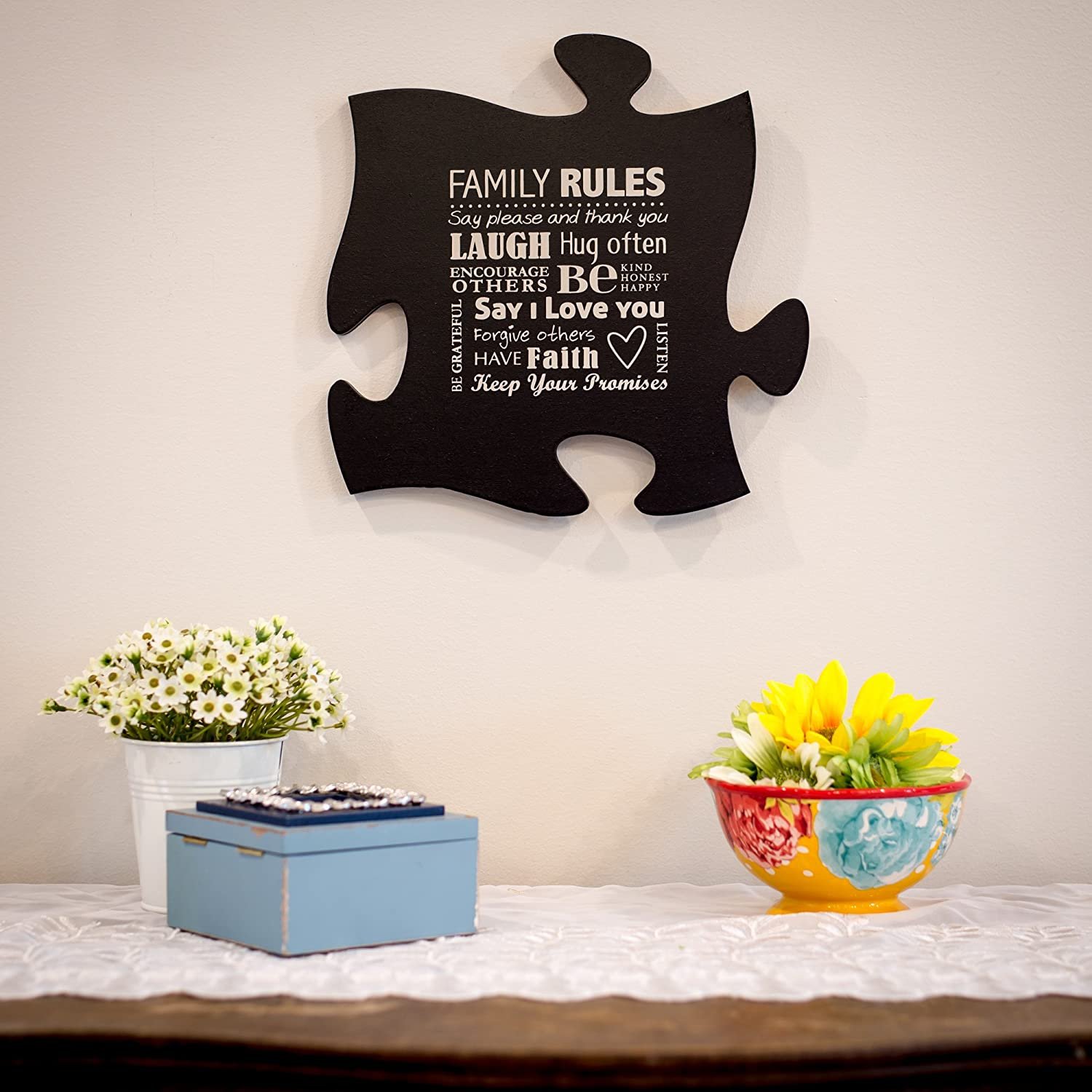 Family Rules - Black P Graham Dunn Puzzle Piece Wall Art By