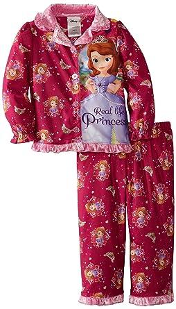 Komar Kids Little Girls Sofia The First 2 Piece Coat Pajama Set, Fuchsia,