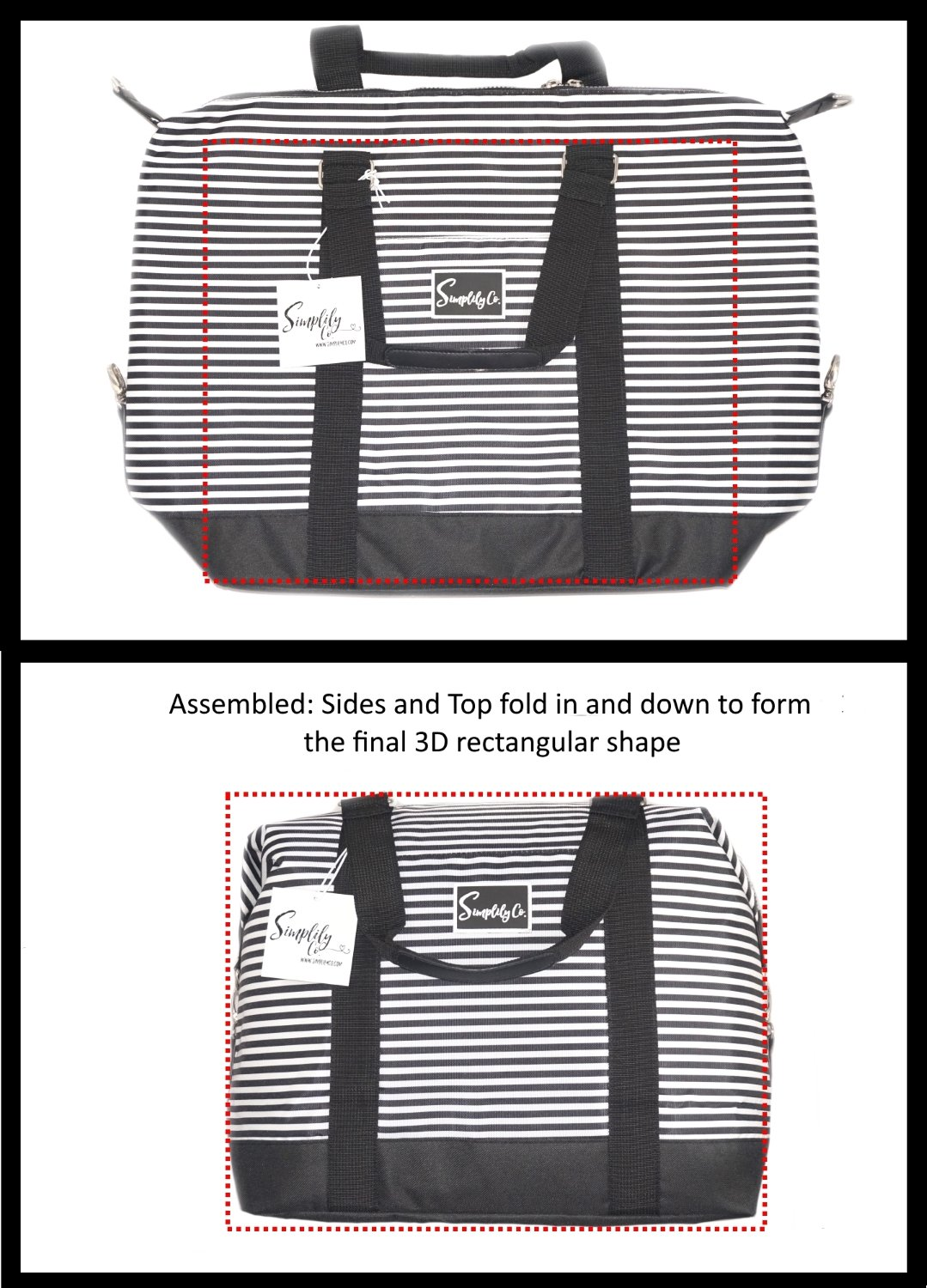 Travel Weekender Overnight Carry-on Under the Seat Shoulder Tote Bag (Small, Black & White Polka Dot) by Simplily Co. (Image #8)
