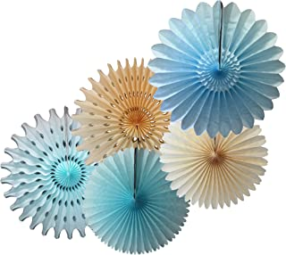 product image for Devra Party 5-Piece Tissue Paper Fans, Light Blue Ivory