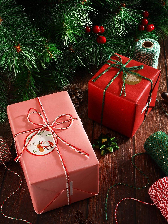 6 Colores Boao 6 Rollos 1968 Pies Guita de Navidad Cordel de Panadero de Algod/ón Cuerda de Envolver Decoraci/ón de Regalo de Manualidades Bricolaje de Navidad