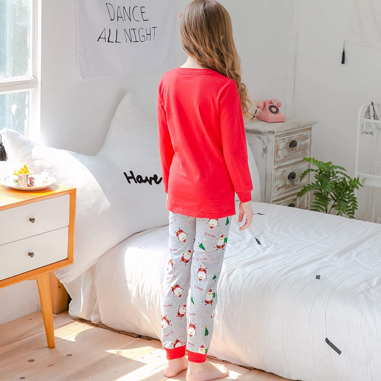 13 Anni Dizoony Strisce Pigiama per Bambine Natale Pajamas Xmas T-Shirt Unisex Cotone Felpato 4 Colore 12 Mesi