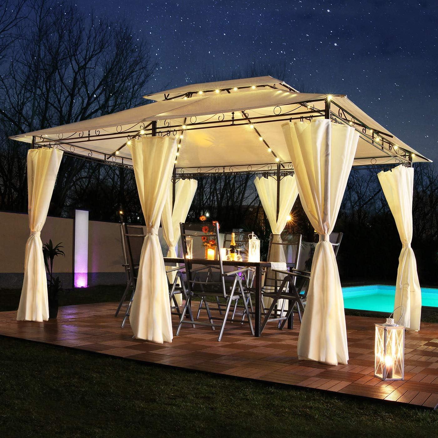 Swing & Harmonie Luxus LED – Cenador 3 x 4 m Minzo – Incluye Paredes Laterales con iluminación LED + módulo Solar de diseño cenador Opcional con mosquitera para jardín Tienda de
