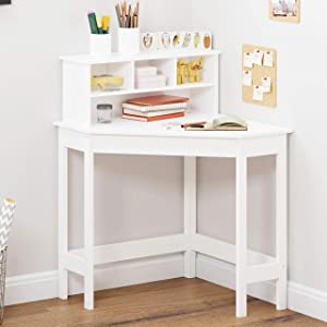 UTEX Corner Desk with Storage and Hutch for Small Space, Kids Corner Desk with Reversible Hutch for Girls Boys, Study Computer Desk Workstation & Writing Table for Home School Use, White