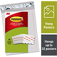 Command PH024-64NA Poster Hanging Strips, Small, White, 64 Strips