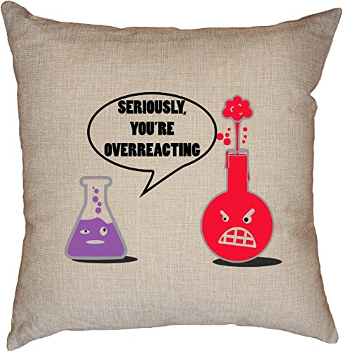 Hollywood Thread Seriously, You re Overreacting Science Beakers Talking Decorative Linen Throw Cushion Pillow Case with Insert