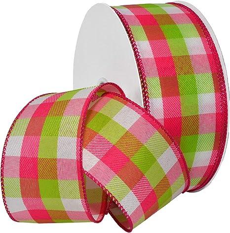 Hot Pink//Bright Yellow Morex Ribbon Color Chic Plaid Ribbon 1.5 x 50 Yd