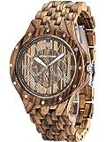 GreenTreen Herren-Multifunktions -Uhr schwarz Sandelholz Chronograph Armbanduhren con 5ATM Resistente all'acqua