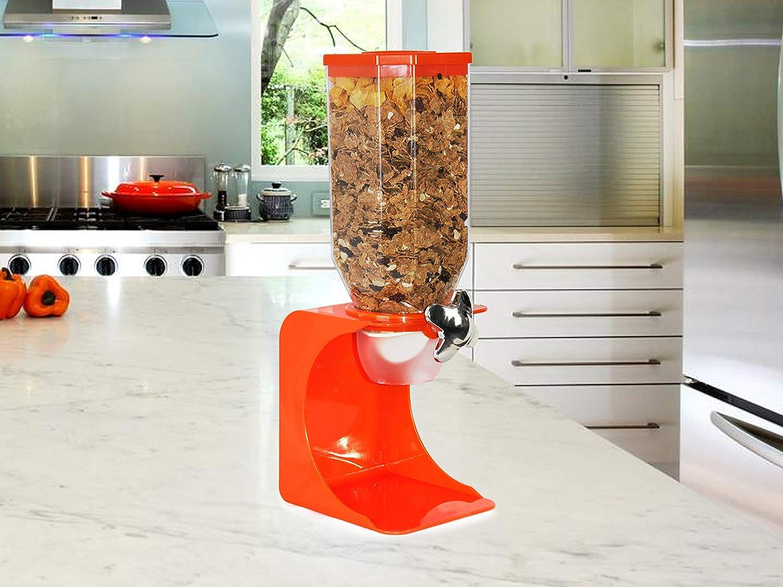 chicchi di caff/è bianco singolo Distributore di cereali in plastica bianca trasparente per alimenti per animali domestici singolo arancione colazione