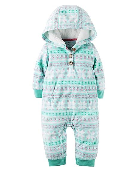 033a9ae29 Amazon.com  Carter s Girl s Fleece Hooded Two Pocket Bodysuit Romper ...