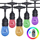 Outdoor String Lights,Patio Lights RGB&Warm Colors 50ft 16 LED Bulbs Music Sync Color Changing Outdoor Lights IP65 Waterproof