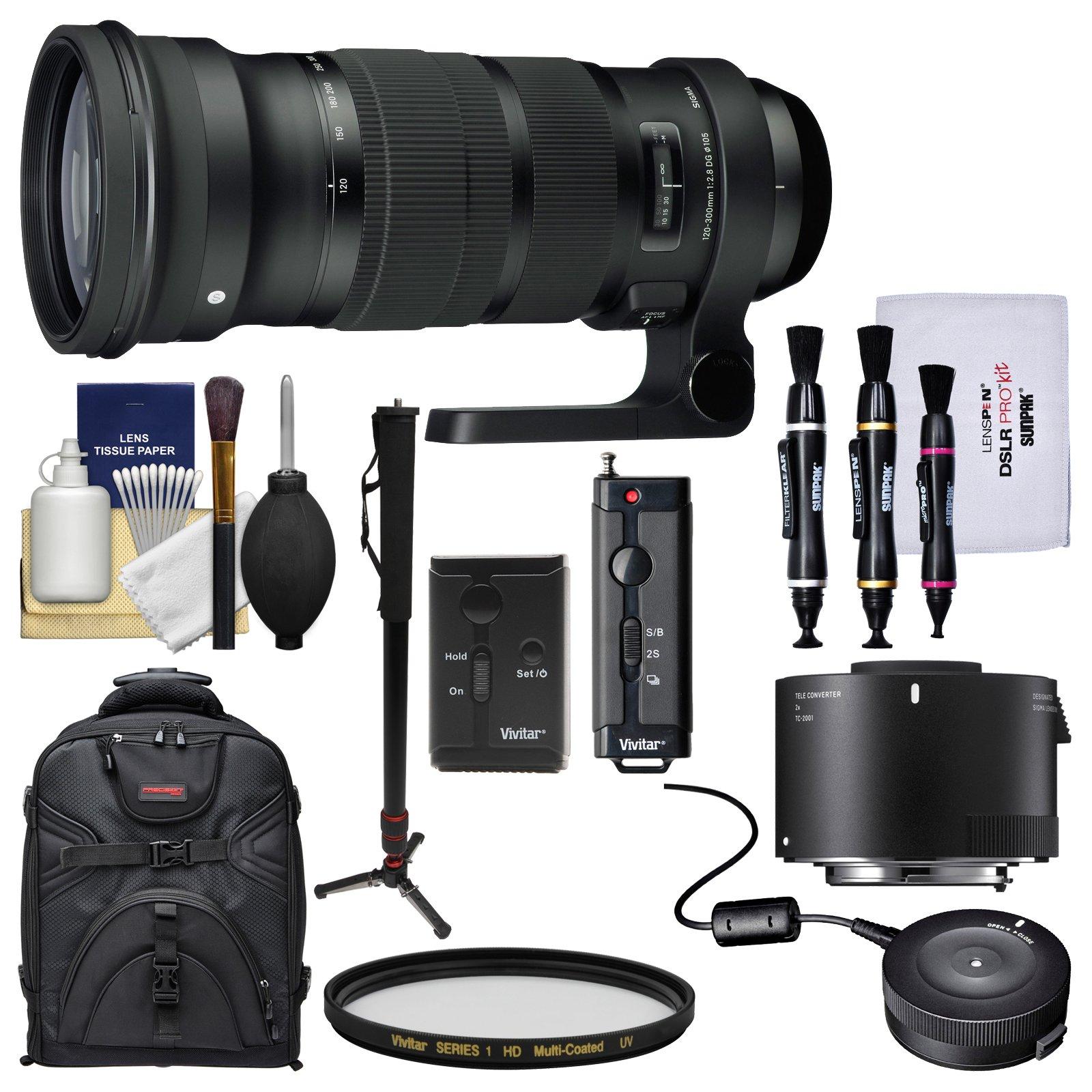 Sigma 120-300mm f/2.8 Sports DG APO OS HSM Zoom Lens with TC-2001 2x Teleconverter + USB Dock + Backpack + Monopod + Kit for Nikon DSLR Cameras