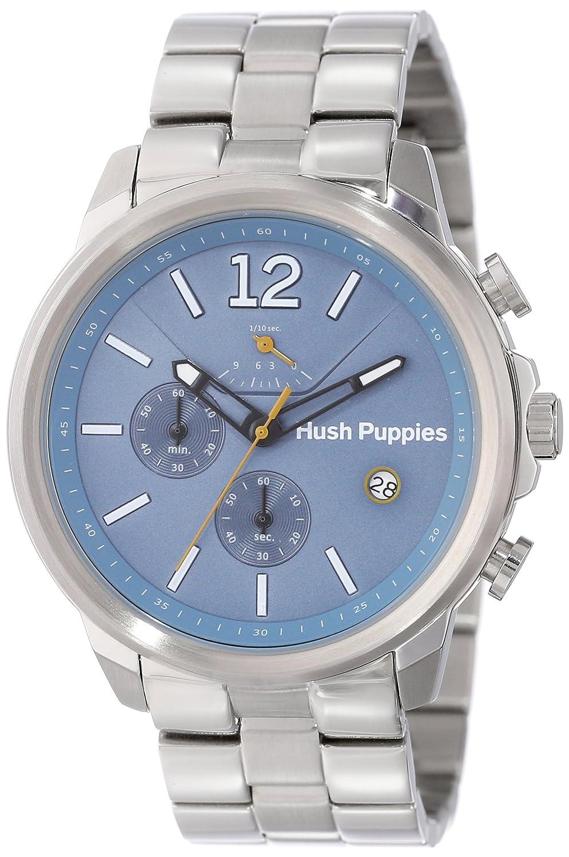 Hush Puppies Orbz Men'Automatik Armbanduhr mit blauem Zifferblatt Analog-Anzeige und Silber-Edelstahl-Armband HP