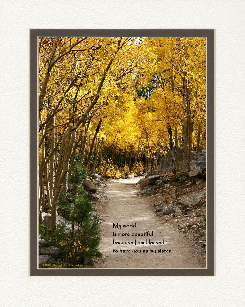 Gift for Sister with ''My World Is More Beautiful Because I Am Blessed to Have You As My Sister.'' Aspen Path Photo, 8x10 Double Matted. Special Birthday, Christmas Sister Gifts.
