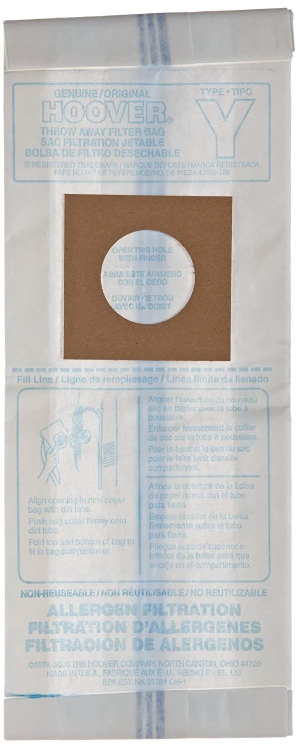 Hoover 4010100Y Microfiltration Bag for 1703/1705 Canister (Pack of 3)