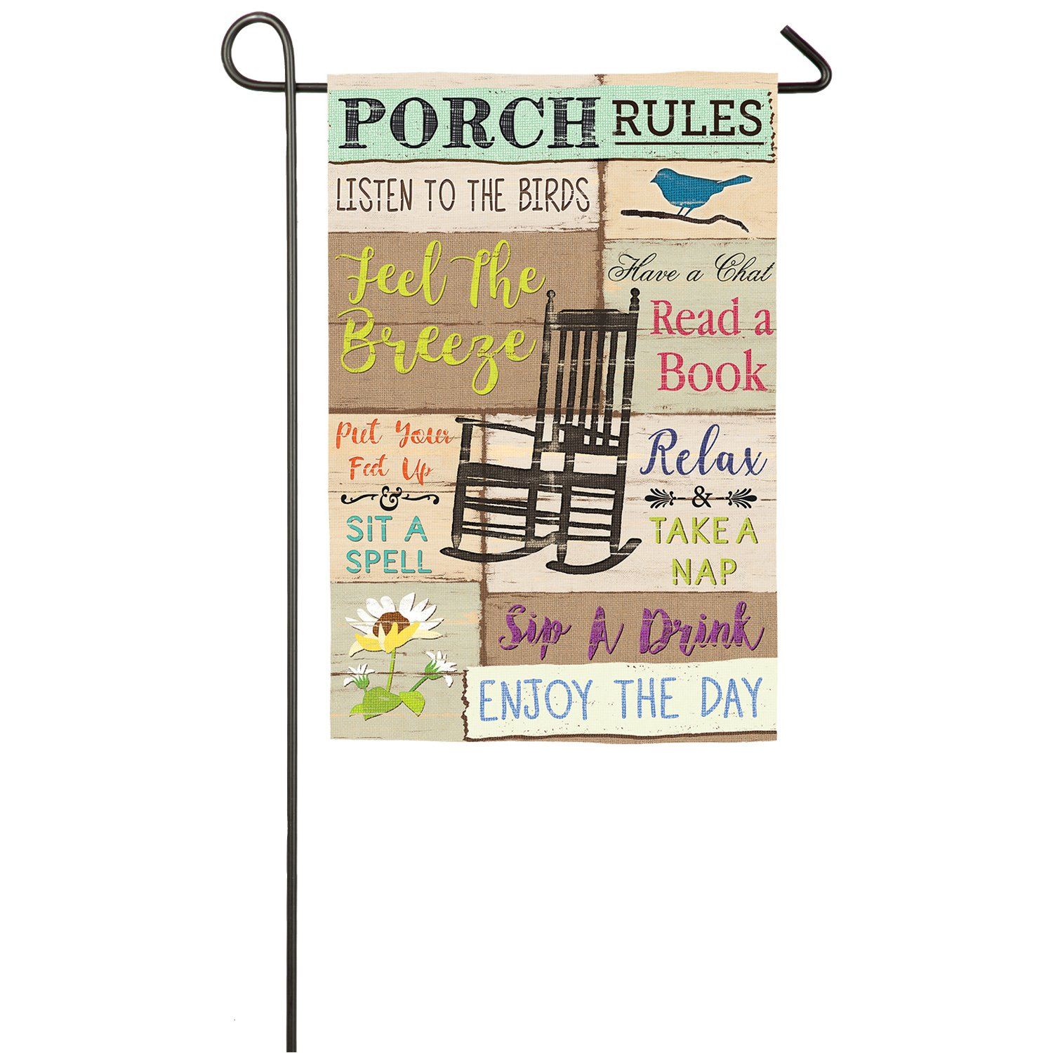 Evergreen Porch Rules Outdoor Safe Double-Sided Suede Garden Flag, 12.5 x 18 inches