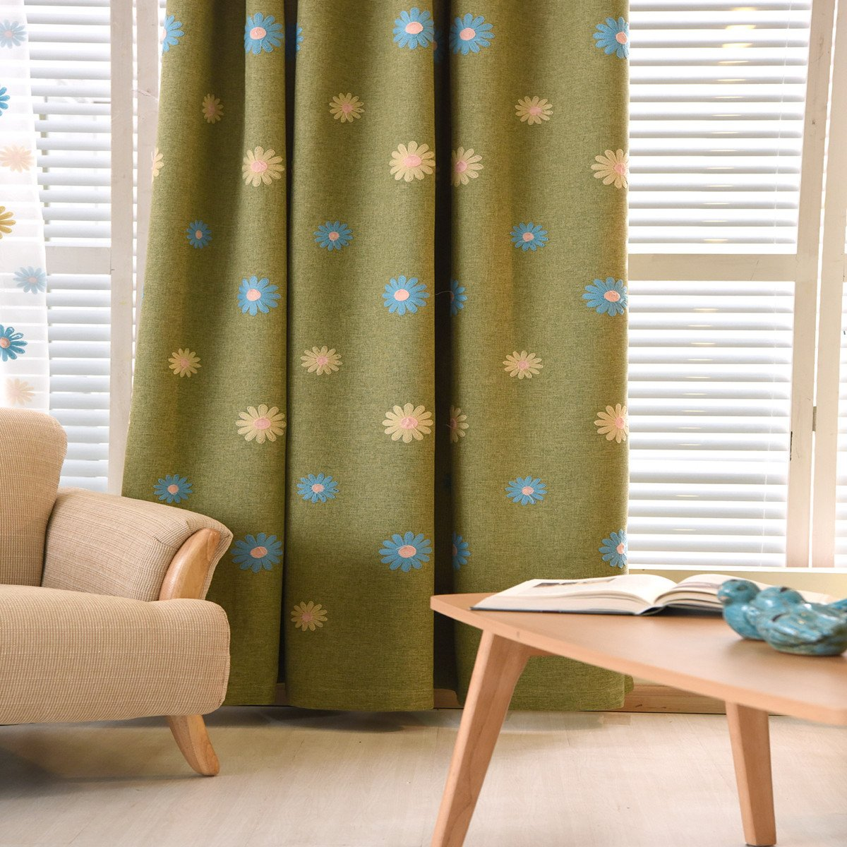 1 Pair Sunflower Style Room Darkening Curtains for Kids Room (39 by 84 X2, Blue) MYRU