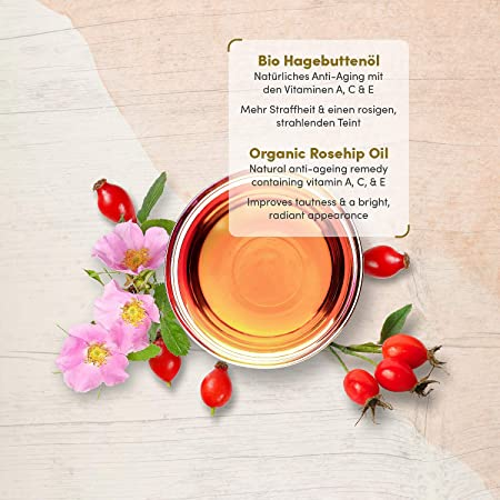 Aceite de Rosa Mosqueta Puro ORGÁNICO Vegano Prensado en Frío 100ml - Serum Facial de Rosa Silvestre con Vitamina E,C,A+Omega 3 – Usar como Crema Hidratante Facial Mujer - Piel Suave, Pelo+Uñas Sanas