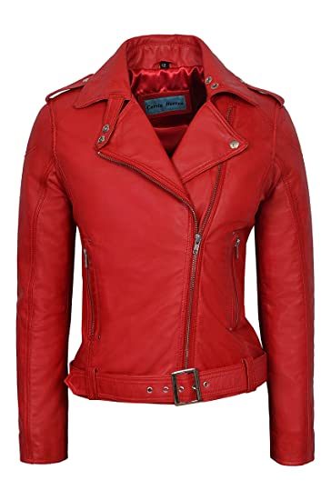 Biker Girl Ladies Red Rock Chick Style Designer Real Nappa Leather