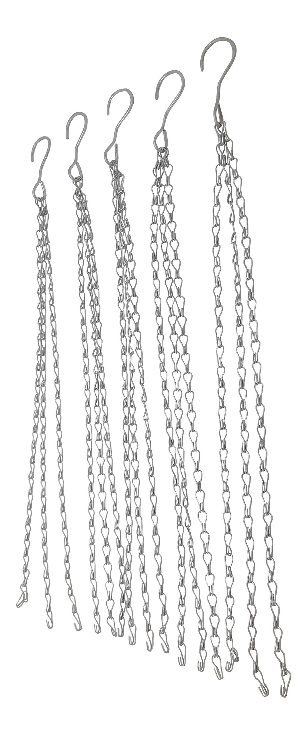 "Hanging Shop Light Chain Grow Light Chains, 24"" HEAVY DUTY with Hook-LED or Fluorescent Fixture 3-Point-Clipless Design-Galvanized-Combinable/Extendable- Multiple Use Double Jack (5 PC)"