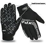 Guanti da ciclismo, antivento, con cuscinetti in gel, compatibili con touch screen, guanti da bicicletta con dita complete, di FDX