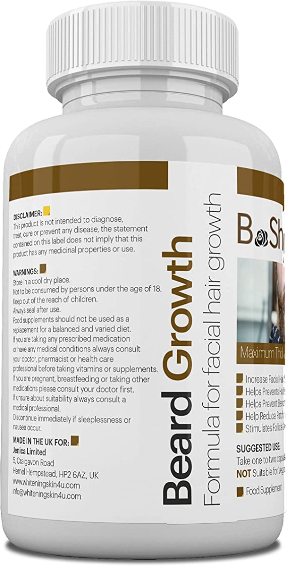 El suplemento para el crecimiento de la barba con vitaminas naturales y biotina promueve un crecimiento más rápido del vello facial para los hombres