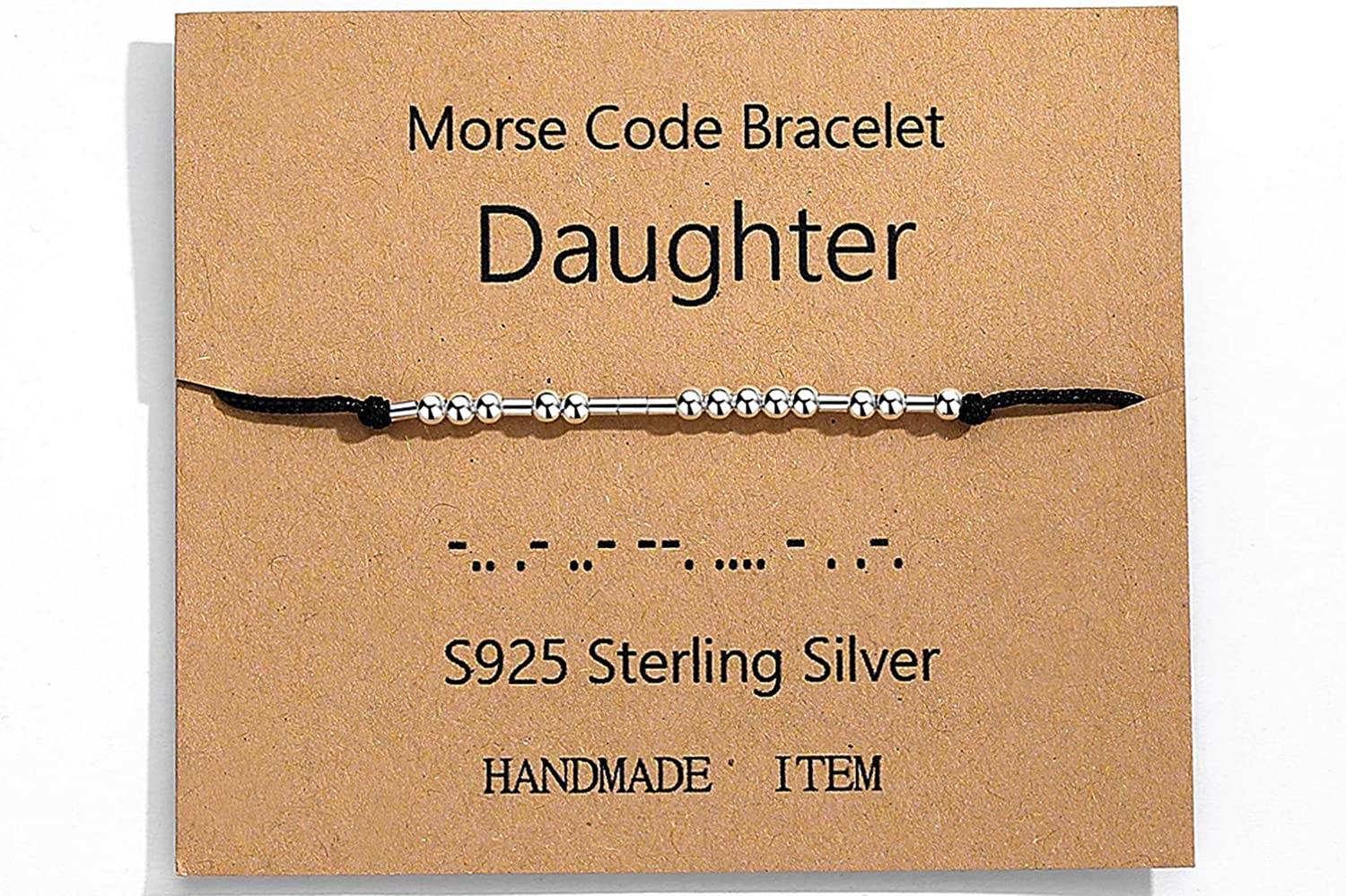 ASELFAD Morse Code Bracelets for Women Sterling Silver Beads on Cord Hidden Message Adjustable Friendship Bracelet Unique Gifts for Her