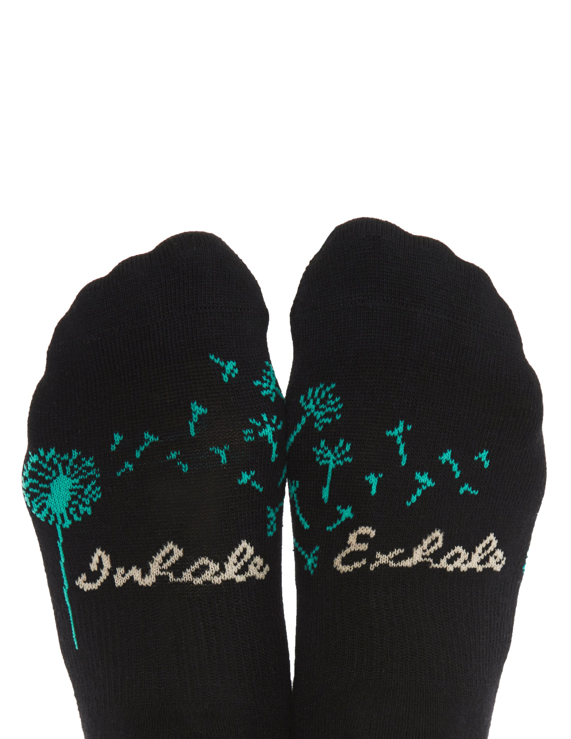 Toe Talk INHALE EXHALE Non Slip Grip Sock for Pilates Yoga Barre Tai Chi Dance Meditation & Mindful Living Fine Knit Sock (1, Sock Set)