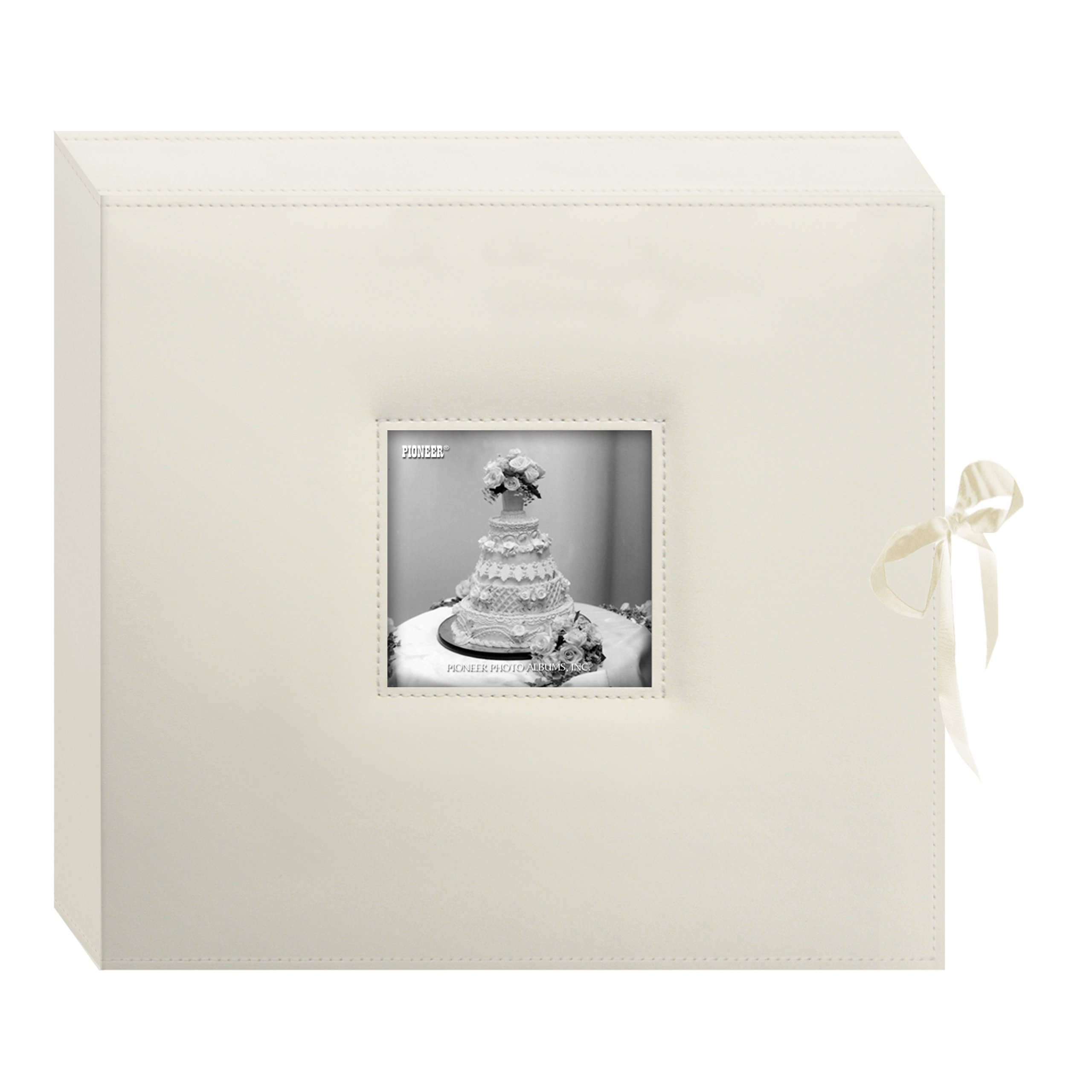 Pioneer 12 Inch by 12 Inch 3-Ring Leatherette Inset Frame and Ribbon Closure Memory Book, Ivory