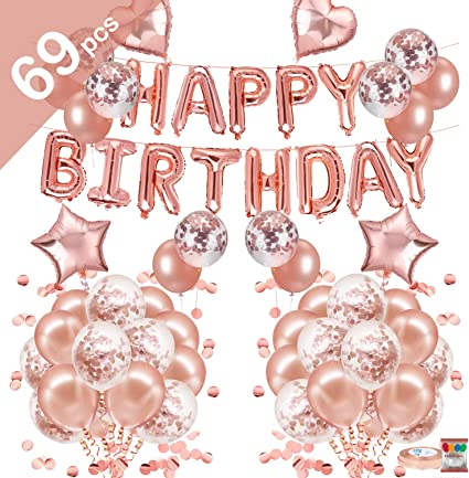 Rose Gold Happy Birthday Balloons Foil Number 18th 21st 30th Age Decorations~