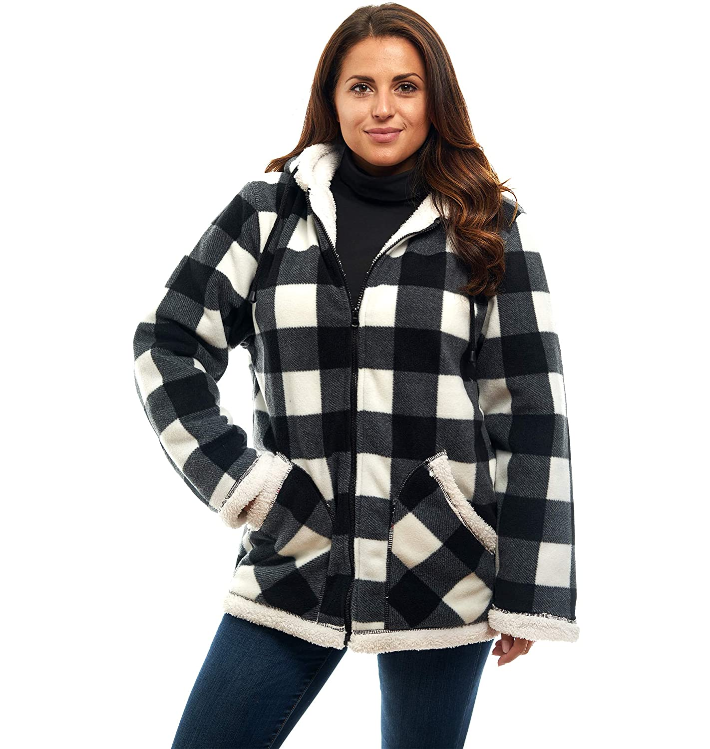 Trailcrest Ladies Smart Plush Sherpa Lined Hooded Sweater Jacket Zip Up Classic