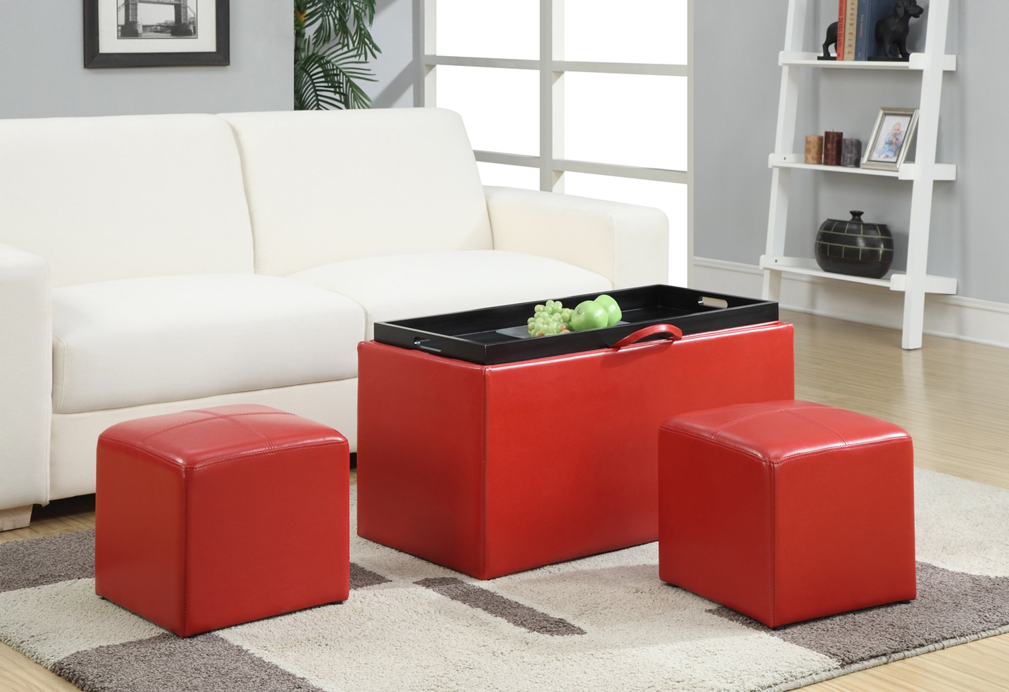 Convenience Concepts Designs4Comfort Sheridan Faux Leather Storage Bench with 2 Side Ottomans, Red