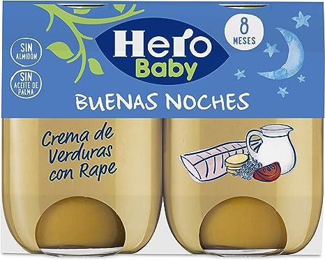 Hero Baby Buenas Noches Crema de Verduras con Rape Tarritos de Puré para Bebés a partir de 8 meses 2 x 190 g: Amazon.es: Alimentación y bebidas